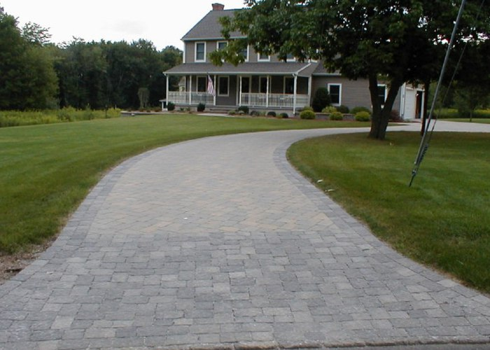 Paver driveway installation by Bahler Brothers in Coventry, CT.