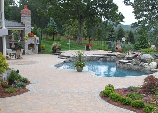 Paver pool patio in Ellington, CT. installed by Bahler Brothers