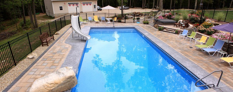 Paver pool patio installation by Bahler Brothers in Tolland, CT.