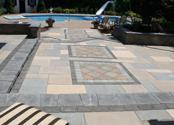 Large raised patio installation by Bahler Brothers in Enfield, CT