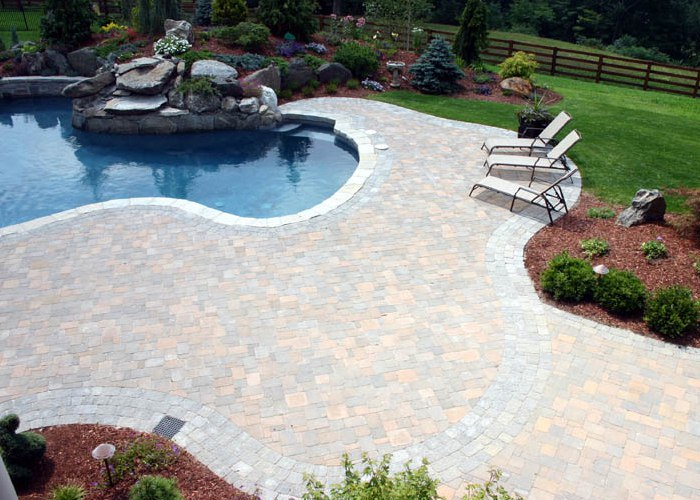 Paver Pool patio installation by Bahler Brothers in Ellington, CT.