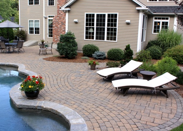 Paver pool patio in South Windsor, CT. installed by Bahler Brothers