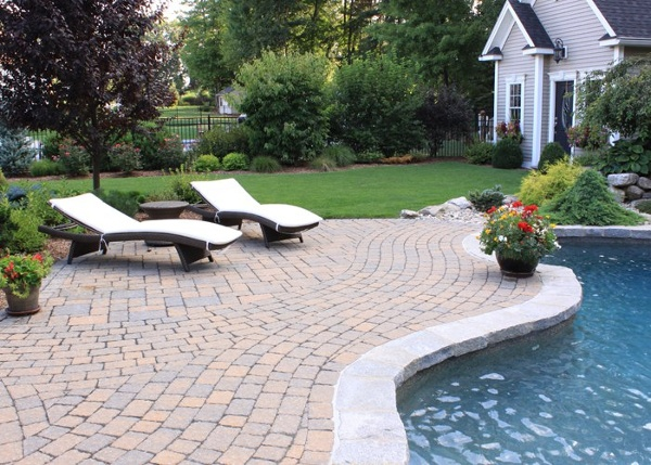Paver pool patio in South Windsor, CT. installed by Bahler Brothers.