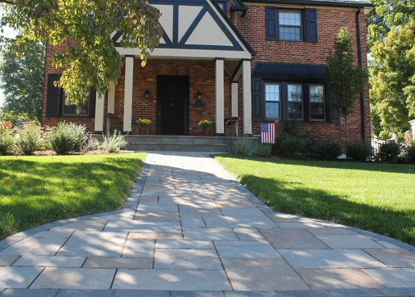paver walkway in West Hartford, CT. Techo-Bloc, Blu 60 in Champlain Grey and Harvest Gold. by Bahler Brothers