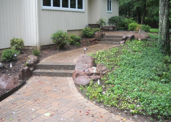 Paver walkway and step installation in Weatogue, CT by Bahler Brothers