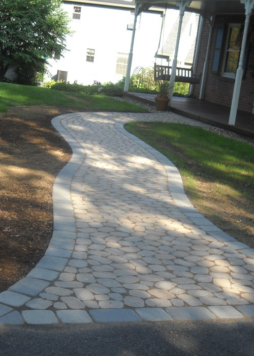 Paver walkway in East Longmeadow, MA by Bahler Brothers.
