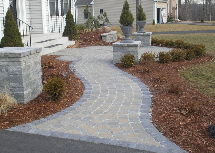 Formal paver walkway and front yard patio installation by Bahler Brothers in Glastonbury, CT