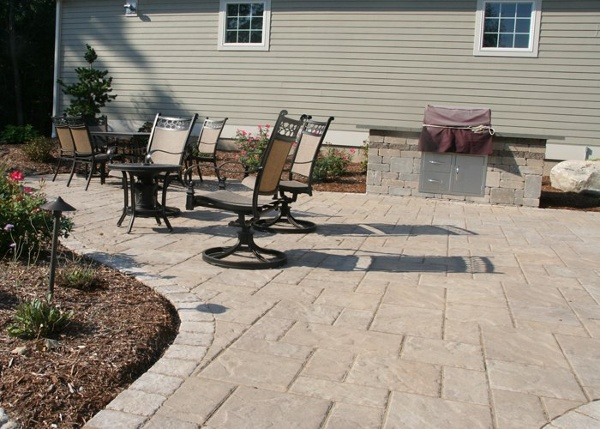 paver patio with built-in grill by bahler brothers in Ellington, CT