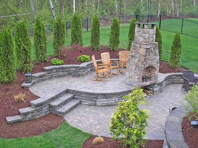 Multi-Level Paver Patio with Outdoor Fire Place and Retaining Walls