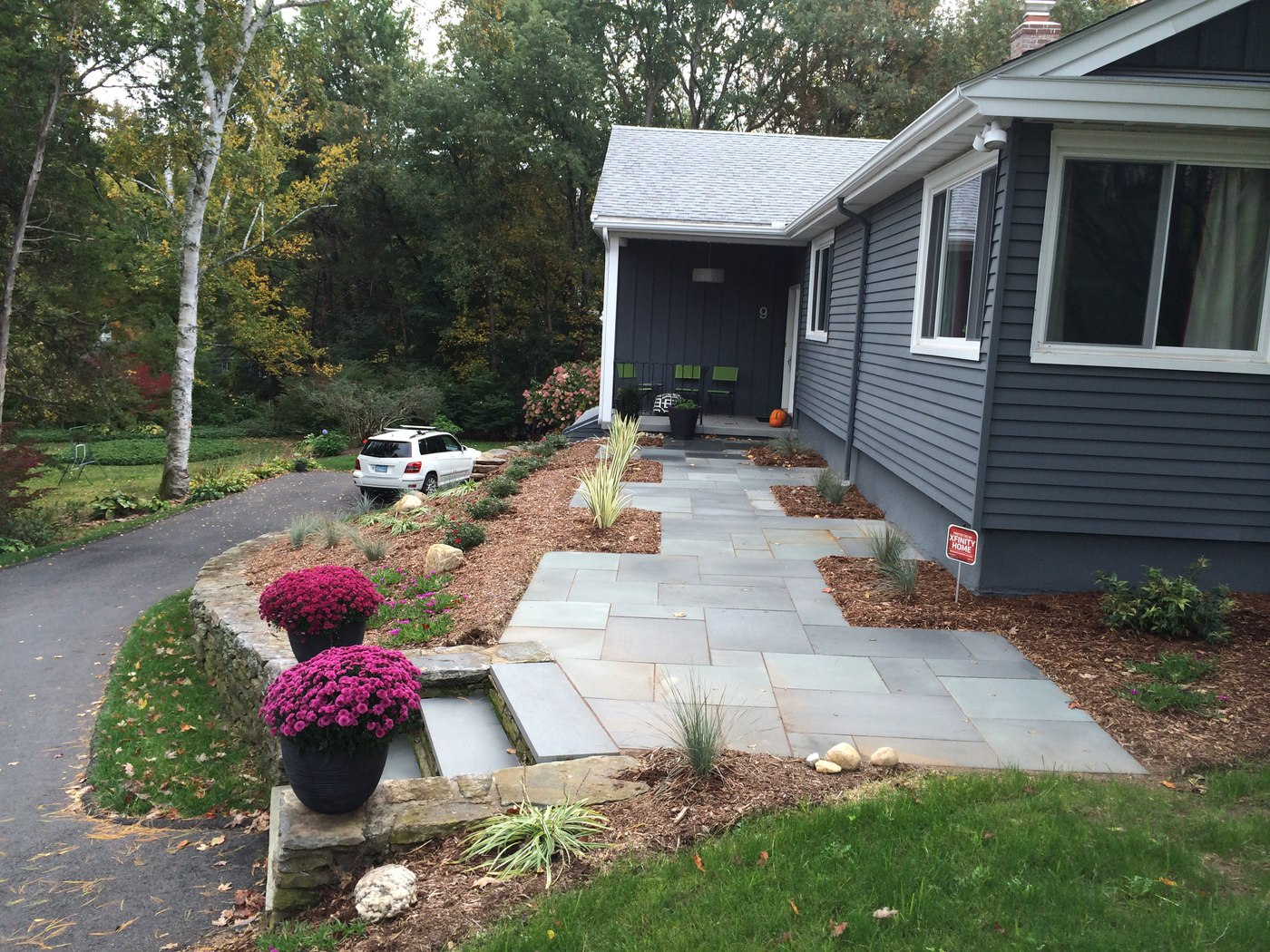 Blue stone walkway and landscaping by Bahler Brothers in West Hartford, CT