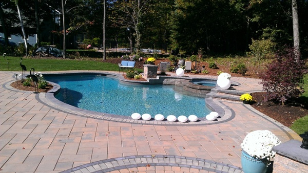Paver pool patio installed by Bahler Brothers in Wolcott, CT