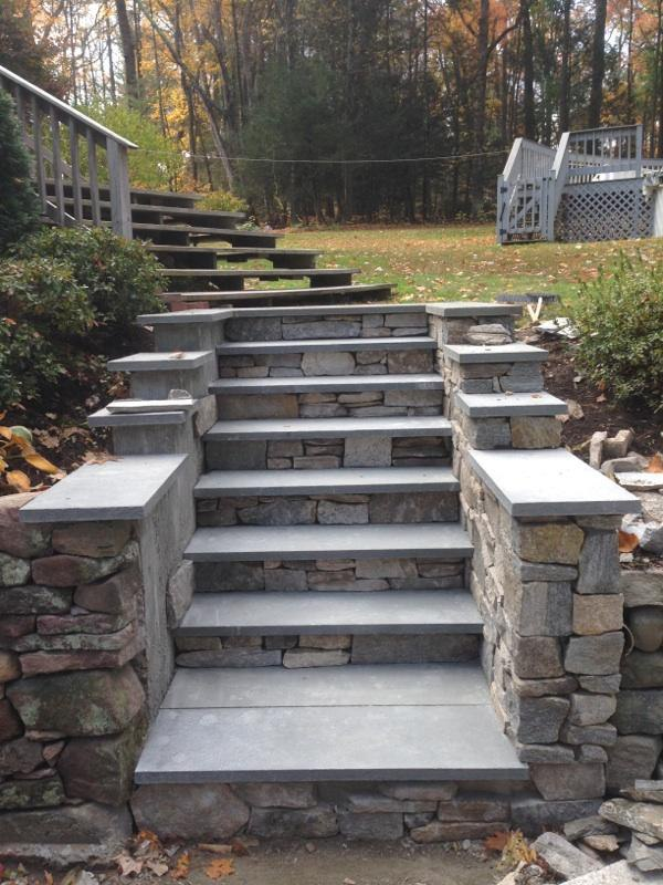 Natural Field Stone Steps in CT by Bahler Brothers