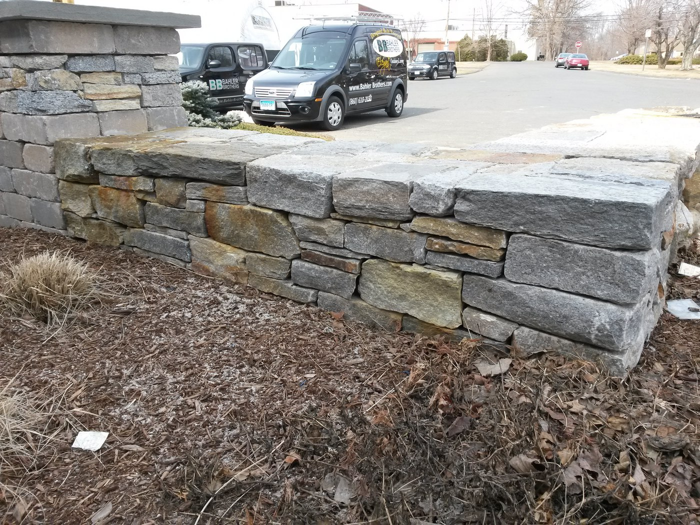 Stone Wall and Pillar by Bahler Brothers in South Windsor, CT