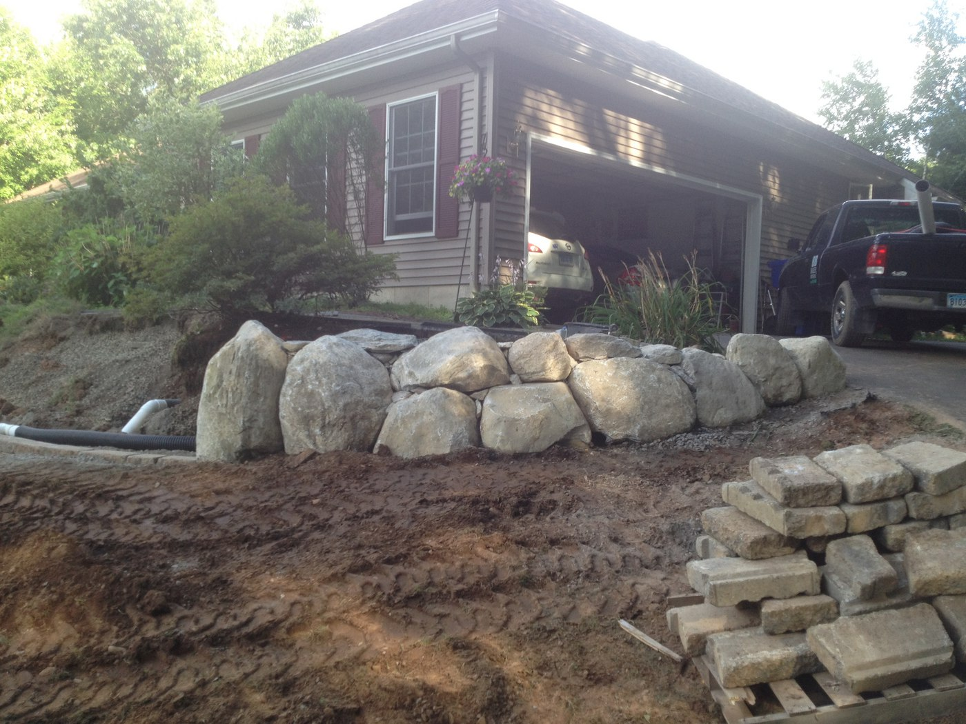 Boulder Wall installed by Bahler Brothers in East Windsor, CT