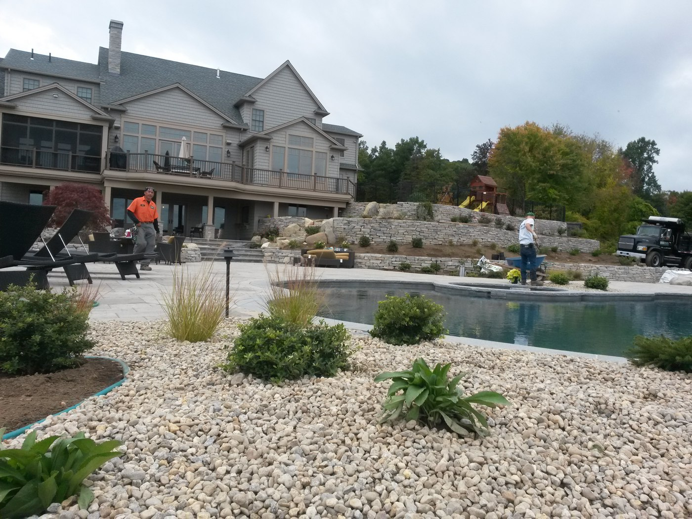 Natural Stone Walls and patio by Bahler Brothers serving MA and CT