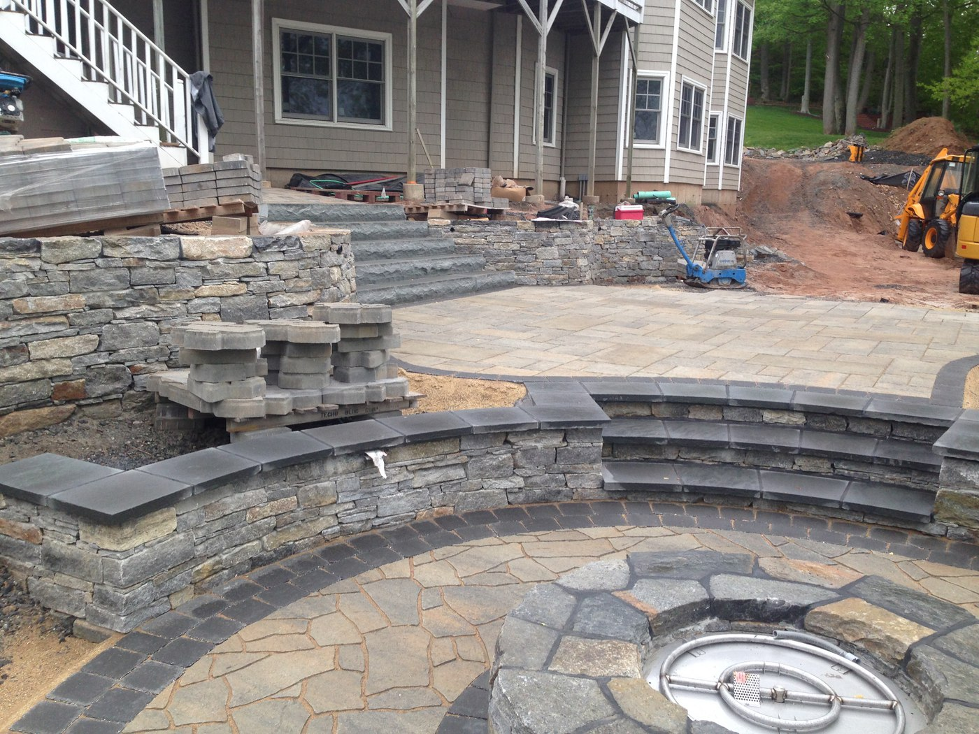 Natural Stone Fire PIt Walls and Steps designed by Bahler Brothers in CT