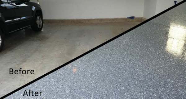 concrete floor coatings before and after protective coating has been applied