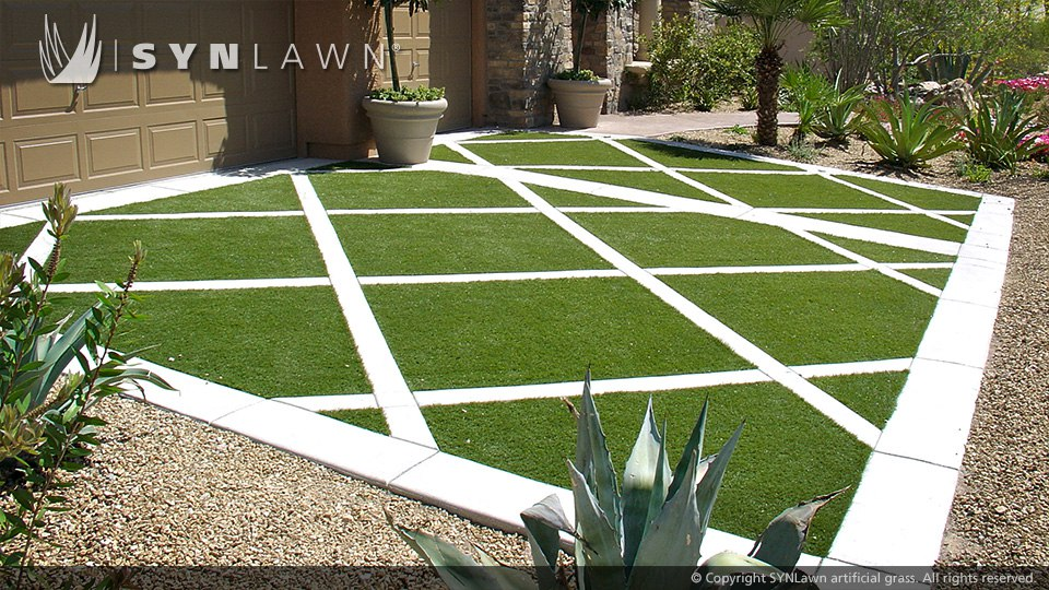 geometric driveway pattern with artificial turf