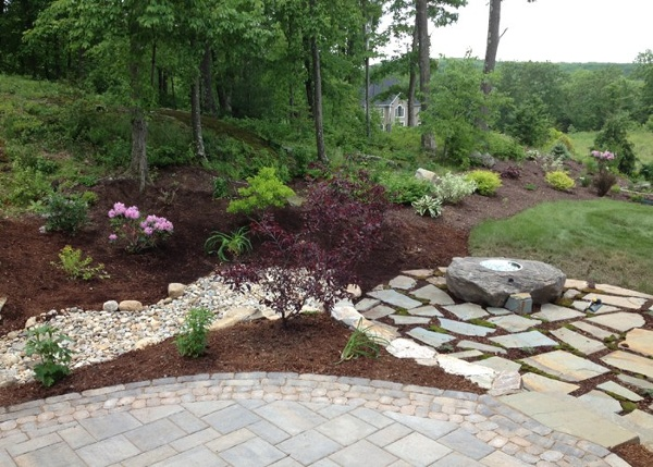woodland edge of property in Burlington, CT. landscaped by Bahler Brothers