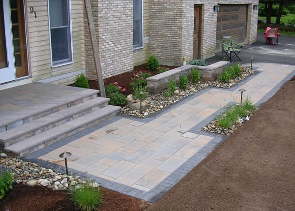 Modern design of a front walkway in South Windsor, CT. by bahler brothers