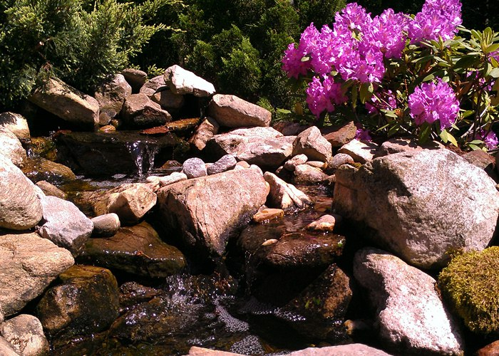 Water feature in Ellington, CT. Installed by Bahler Brothers