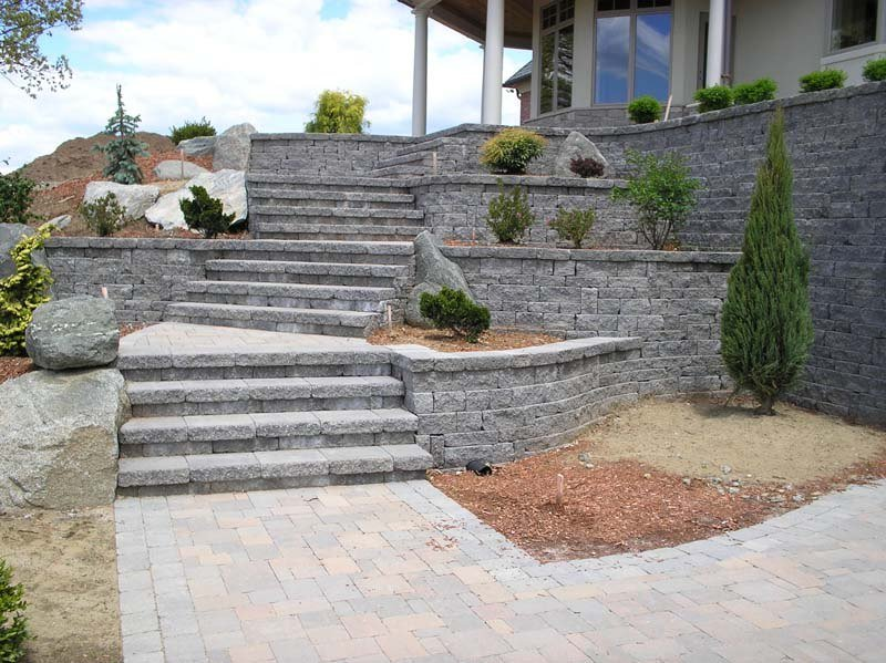 Multi-level paver patio with stone steps