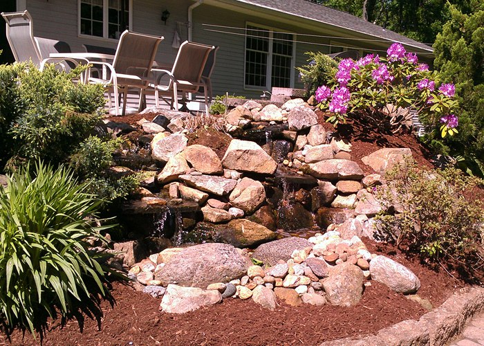 pondless water feature in Ellington, CT by Bahler brothers