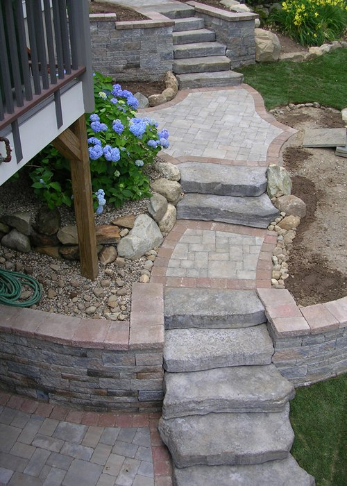 Step installation with paver landings in Canton, CT. Installed by Bahler Brothers