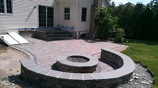 Paver Patio with Steps and Seating Area and Fire Pit