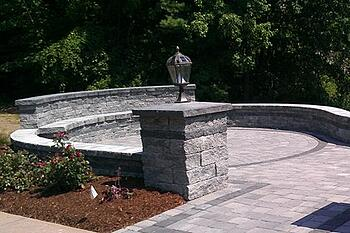 Sitting bench and sitting wall installed by Bahler Brothers in South Windsor, CT