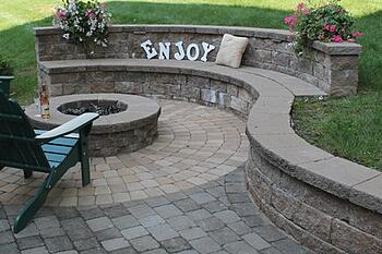 Sitting Wall with Fire Pit installed by Bahler Brothers in South Windsor, CT