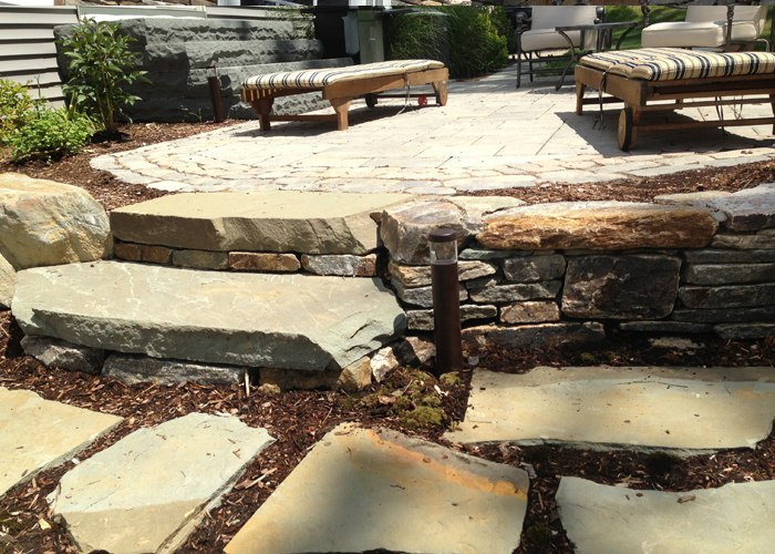 Stone Steps in Natural Stone Wall in Burlington, CT by Bahler Brothers