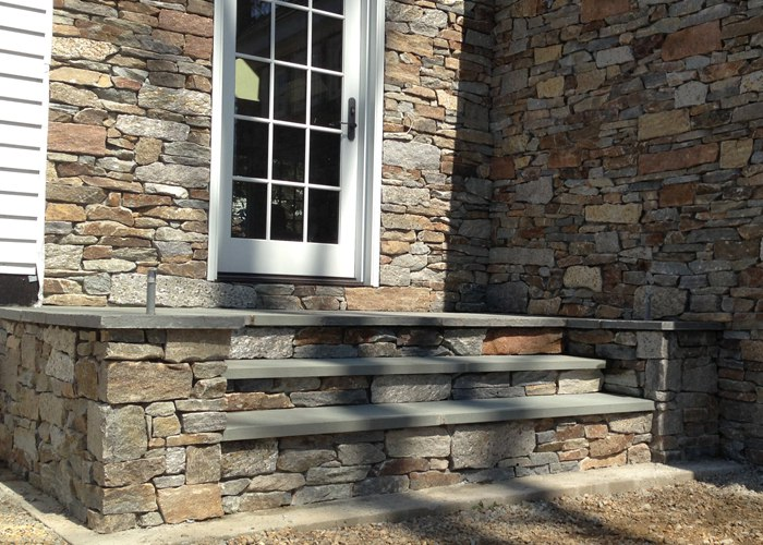 Stone veneer on Steps and facade by Bahler Brothers in CT