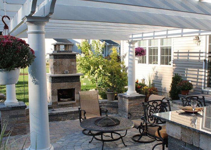 Paver Patio with Outdoor Fireplace Outdoor Kitchen and Pergola