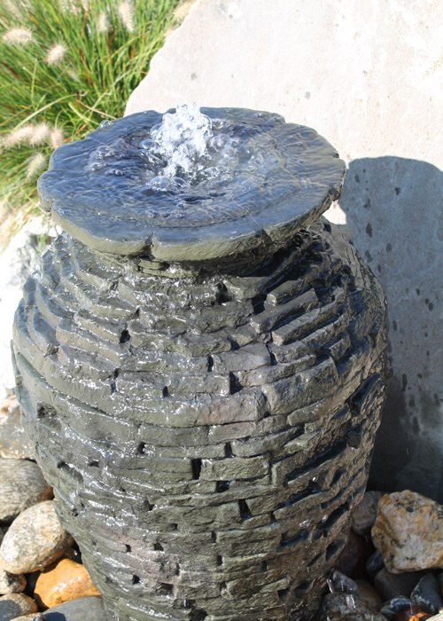 Stacked Slate Urn fountain by Aquascape, installed by Bahler Brothers in Connecticut