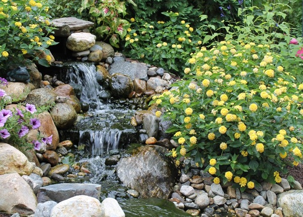 Pondless water feature in South Windsor, CT installed by Bahler Brothers