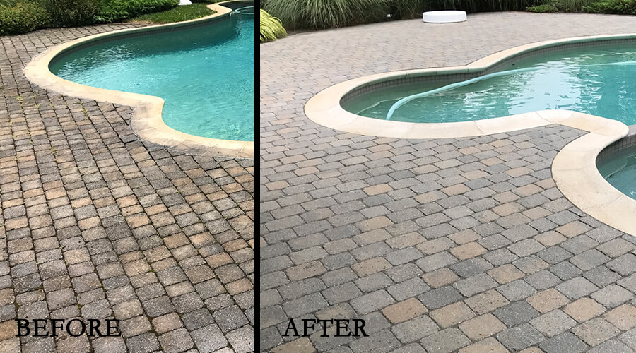 Before-After pool patio cleaned and resanded