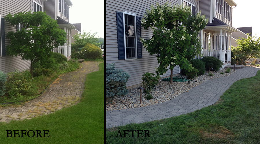 Before-After shale grey walkway cleaned and resanded