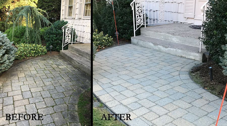 Before-After walkway cleaned and resanded