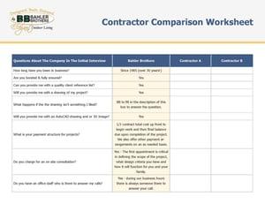 Contractor Comparison Worksheet