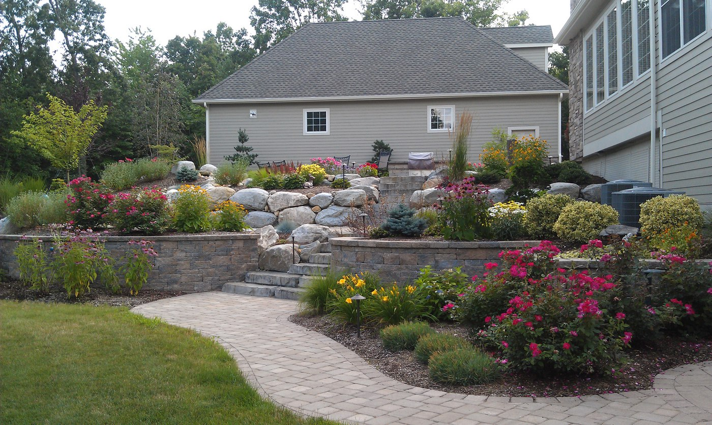 Landscaping Complementing Paver Patio, Walkway and Retaining Wall
