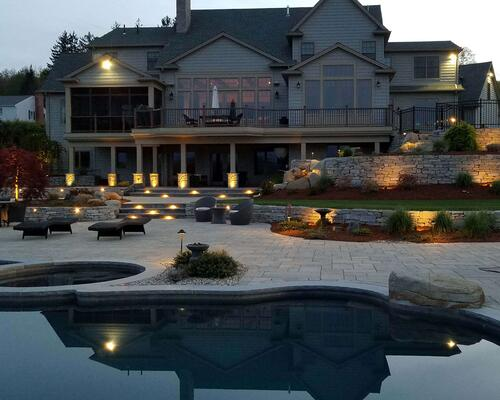 Patio with accent lighting