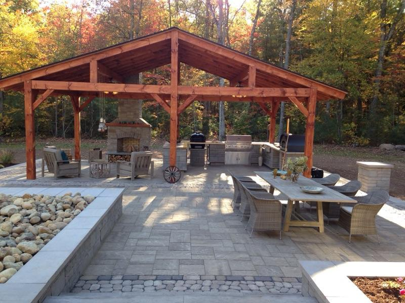Beautiful outdoor patio with paver stones and paver sand