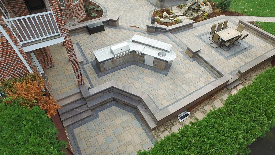 Large outdoor space with multi-level raised patio