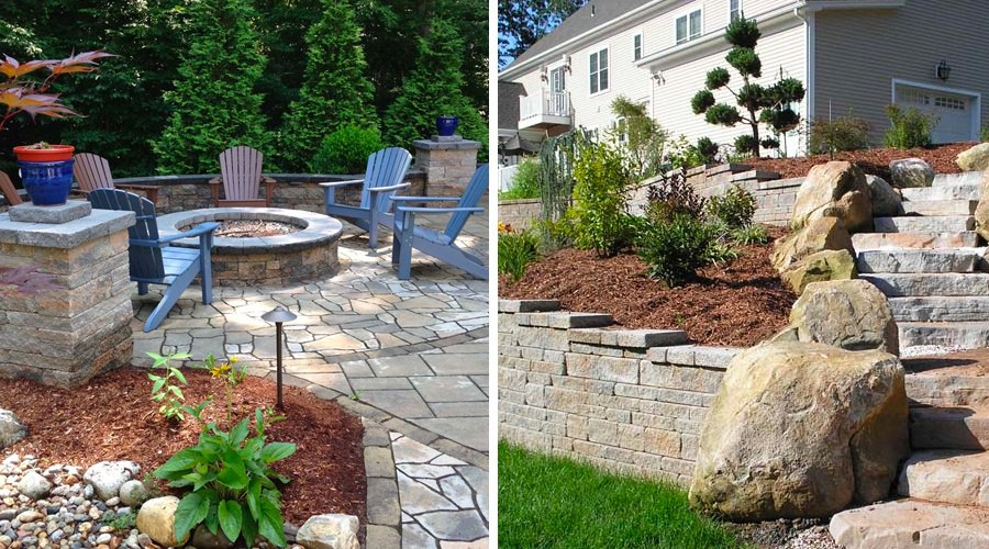 Paved patio with stone fire-pit