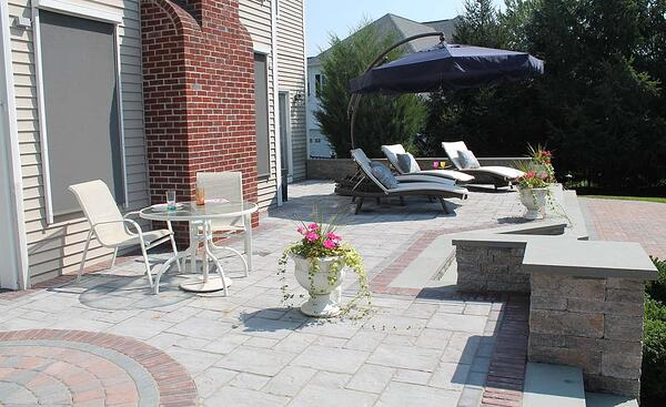 Raised patio with paved sun deck