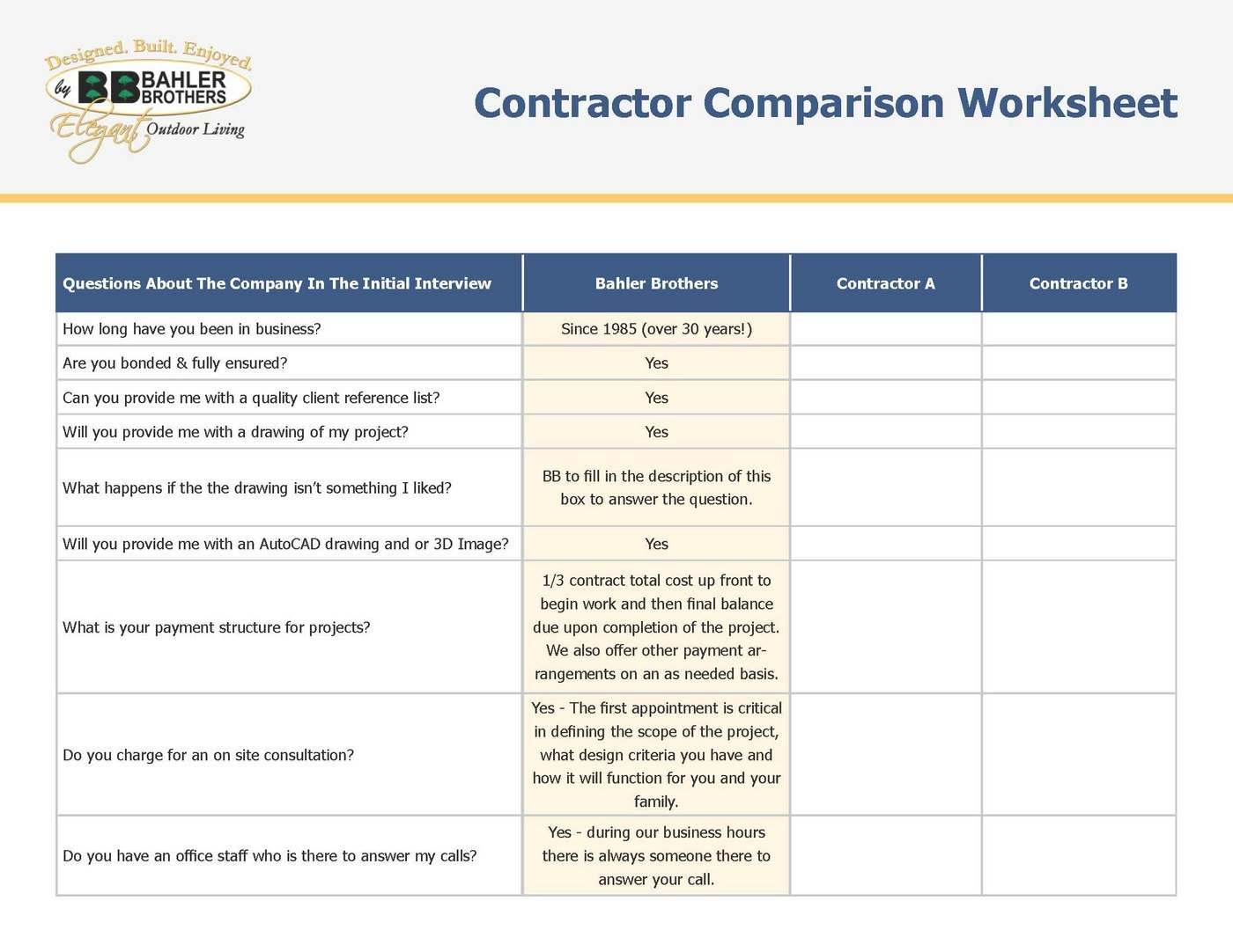 Contractor Comparison Worksheet